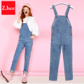 2017 Loose New Denim Jumpsuits Pocket Rompers Stripped Loose Plus Size Women Fashion Casual Denim Overalls Harlan Jumpsuits