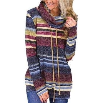 Mujeres de manga larga de encaje up Pullover Casual Tops señoras Cowl cuello cordón rayado suéter 2018 otoño ropa de abrigo