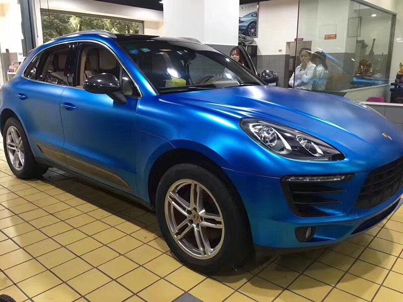 5x59FT Bubble Free Синий Премиум Сатин Матовый металлический хромированный виниловый автомобиль самоклеящаяся оберточная бумага пленка