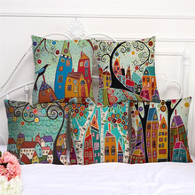 RECOLOUR Linen Pillow Cover Vintage European Building Style Pattern Cushion Home Decorative Cheap Case 45x45cm