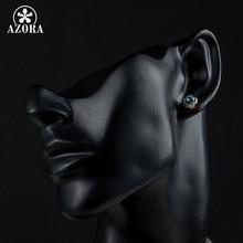 AZORA Blue Eyes Rose Gold Color Stellux Austrian Crystal Round Stud Earrings TE0072