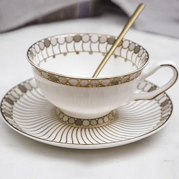 Taza de café reutilizable, juego de platillo, taza de té de porcelana, tazas de café Espresso de cerámica, café, té Glazen, vajilla de Navidad 50T002
