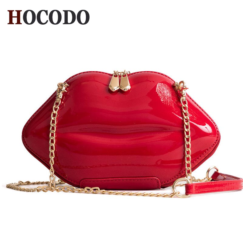 5848ae301c HOCODO 2018 Fashion Women Patent Leather Red Lips Clutch Bag Ladies Chain Shoulder  Bag Handbags Evening Bag Lips Shape Purse-in Top-Handle Bags from Luggage  ...