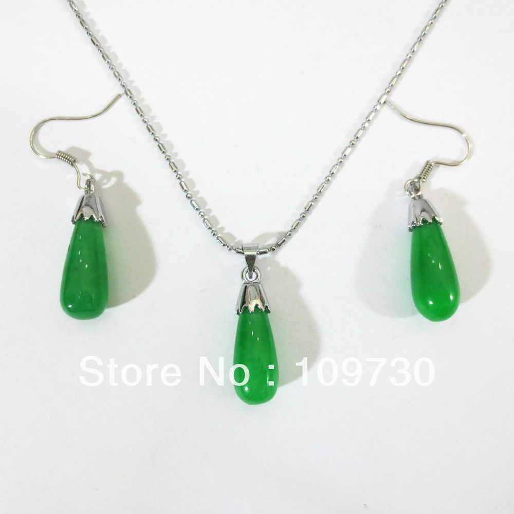 משלוח חינם 0049 אופנה די חמוד תכשיטי >>@> ירוק אבן תליוני ירקן שרשרת עגיל סט תכשיטי תכשיטים טבעיים