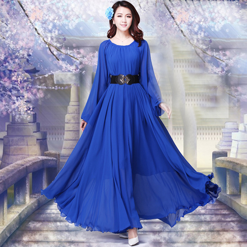2019 Long Sleeve Solid Color Bohemia Elegant Plus Size Full Length Maxi Dress Holiday Beach Bridesmaid