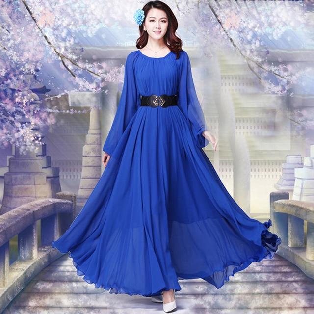 2021  Long Sleeve Solid Color Bohemia Elegant Plus Size Full Length Maxi Dress Holiday Beach Bridesmaid Sundress 1