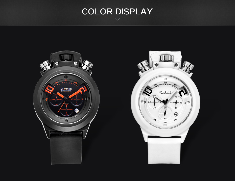 Topdudes.com - Original MEGIR Military Style Analog Date Display Chronograph Watch with Silicone Strap