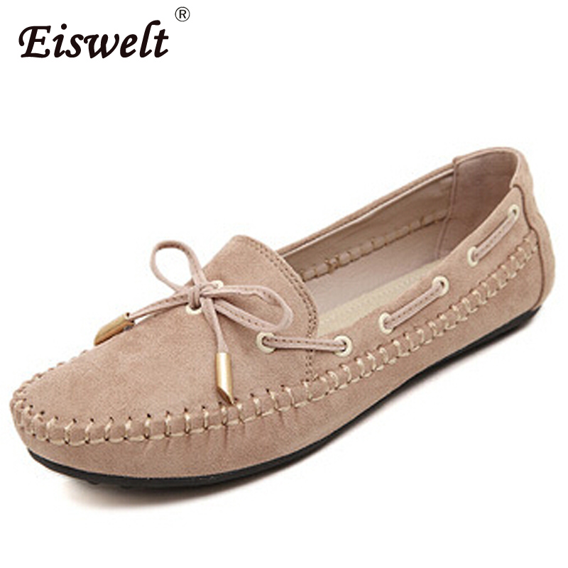 EISWELT 2017 Casual Bowtie Loafers Sweet Women Flats Solid Summer Flock Casual Shoes Woman 4 Colors Plus Size 35-41 Shoes#HDS16 plus size 34 43 new platform flat shoes woman spring summer sweet casual women flats bowtie ladies party wedding shoes