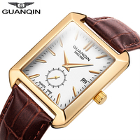 GUANQIN 2019 Rectangle Mens Watches Top Brand Luxury Male Clock Men Leather Quartz Wrist Watch Men Waterproof Relogio Masculino