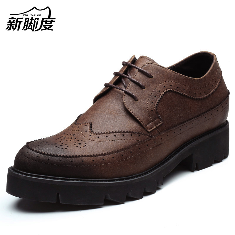 New Comfortable Platform Lift Height Shoes Taller Men Shoes 8cm Antiskid Rubber Outsole Color Black Blue Brown