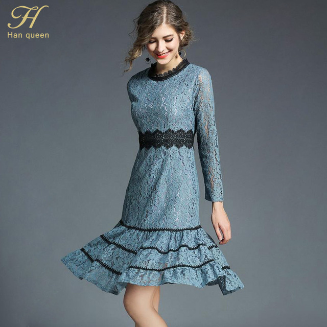 8b4826acff011 H Han Queen 2018 Spring Women's Elegant Patchwork Ruffles Lace Dress O-neck  Office Casual