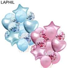 LAPHIL, 14 шт, много конфетти, воздушные шары с днем рождения, голубые, розовые, гелиевые шары для мальчиков и девочек, праздничные принадлежности для малышей