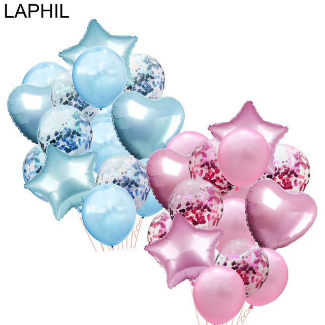 LAPHIL 14 pcs Multi Confetti Balão Feliz Aniversário Balões de Festa Balões De Hélio Azul Rosa Fontes do Partido do Chuveiro Do Bebê Da Menina do Menino