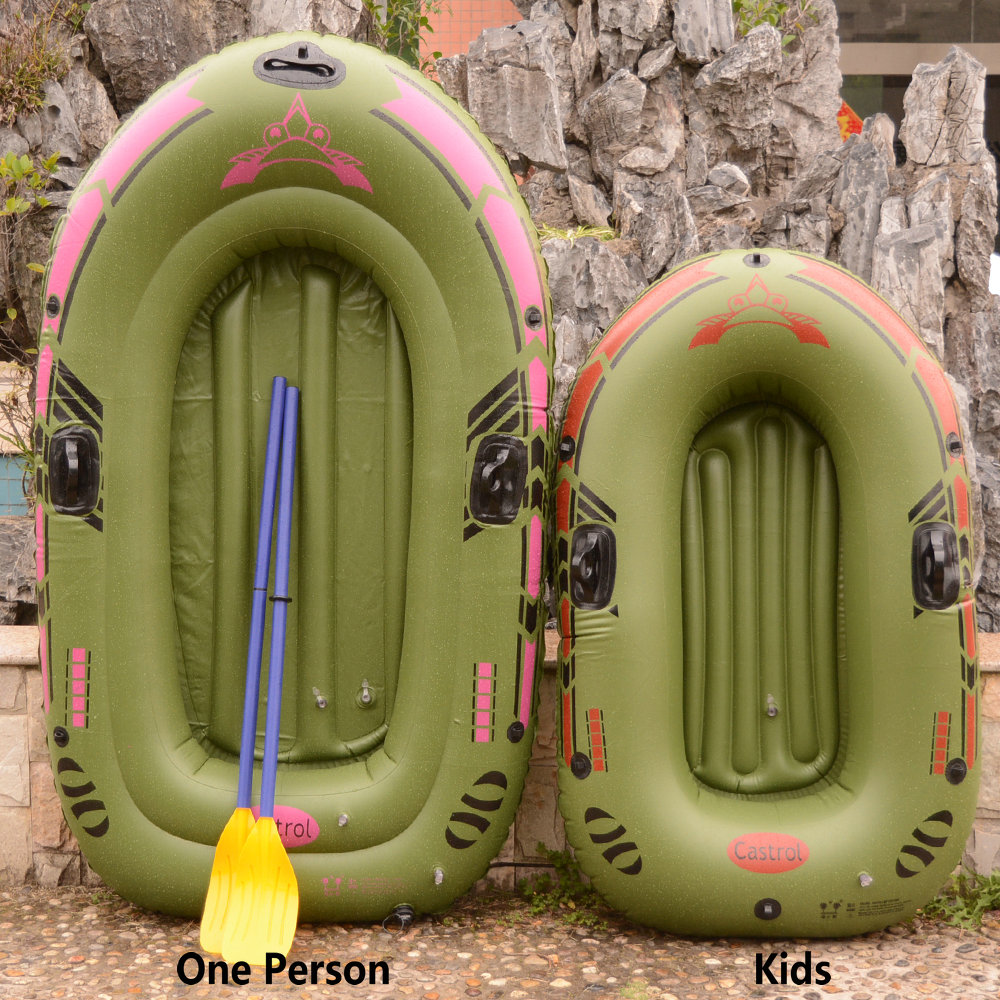 Kids Portable Inflatable Single Boat High Strength PVC Rubber Fishing Boat 140x90cm One Person Rowing Boat