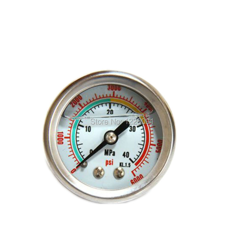 For bull pcp hand pump, mini stainless steel pressure gauge high pressure air manometer gauge filled with glycerine oil 300 bar  ynxc 60 2 5 shock proof magnetic help 60mm oil liquid filled electric contact pressure gauge manometer lower mount bottom