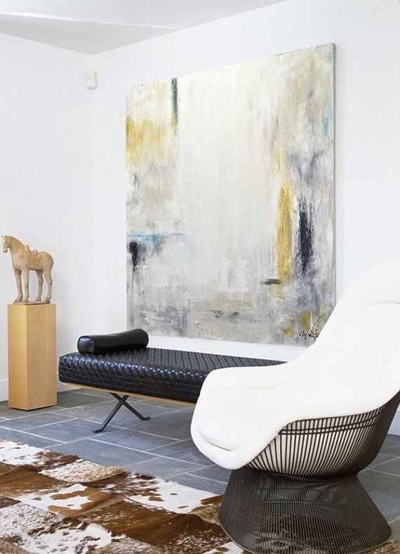 Besar Lukisan Minyak Asli Modern Abstrak Seni Putih Amber Kuning Biru Lukisan Minyak Seni Kontemporer Desain Interior Dinding Seni