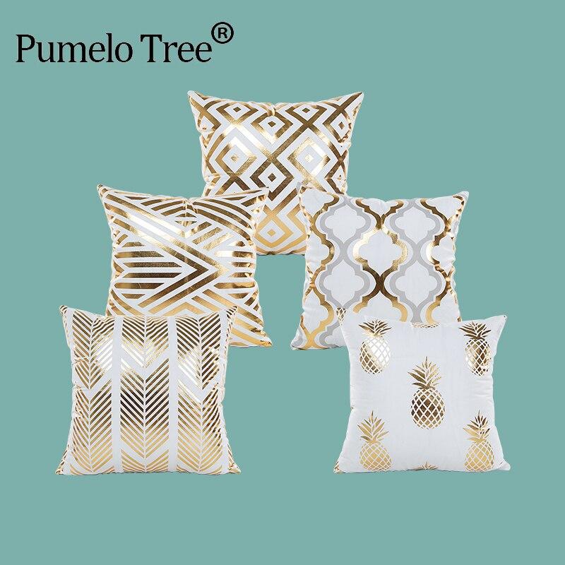 New Cushion Bronzing Christmas Cushion Cover Gold Geometric Printed Pillow Cover Decorative Pillow Case Sofa Bed car Pillowcase
