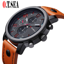 Hot Sales O.T.SEA Brand Casual Leather Watches Men Military Sports Quartz Wristwatch Male Relogio Masculino 8192