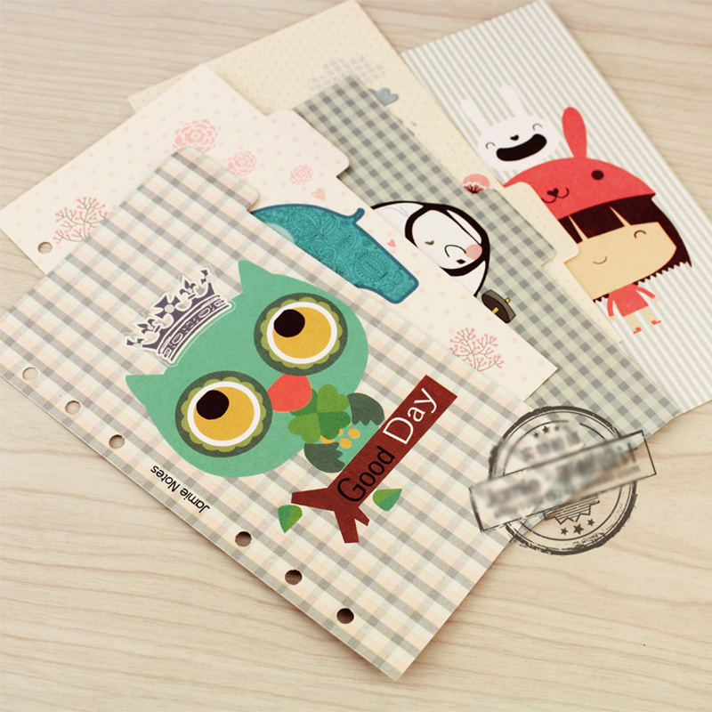 Jamie Notes Notebook Planner Accessories Clean Fresh Grid Dividers Inner Page for Filofax Creative Gift Stationery 5pcs/Set topshop jamie