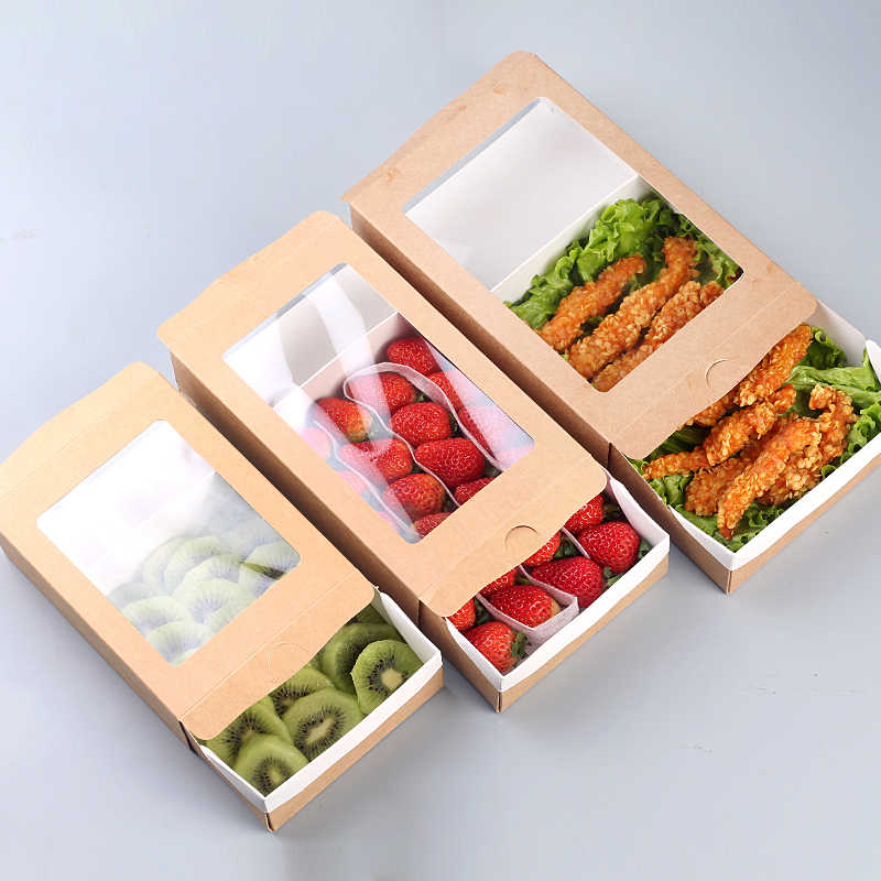 20pcs Disposable Salad Packing Boxes Kraft Paper Push-pull Bento Cases Takeaway Packing Tools One-off Takeout Packing Boxes