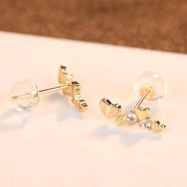 Exquisite 14k Gold Heart Stud Earrings 4