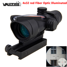 Riflescope 4X32 Real Fiber Optic Red Illuminated Rifle Scope Glass Etched Reticle Tactical Optical Sight for 20mm Picatinny rail цены