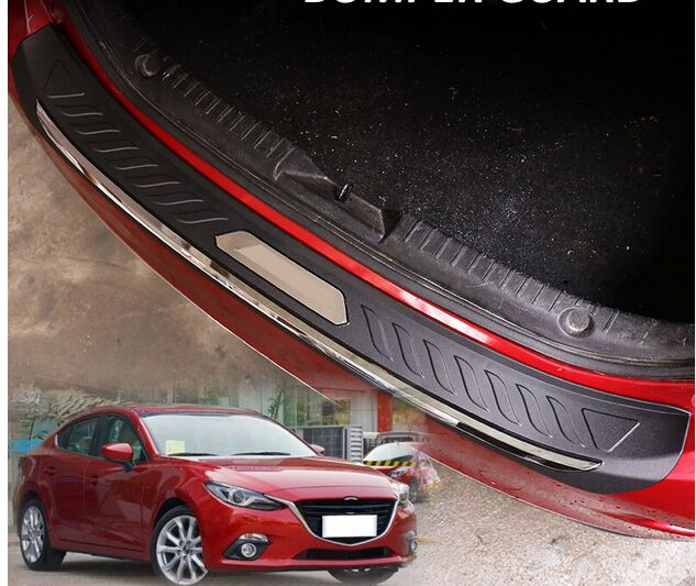 HOT FIT FOR MAZDA 3 AXELA 2014 2015 2016 ABS REAR DECK BUMPER PROTECTOR STEP PANEL BOOT COVER SILL PLATE TRUNK TRIM GARNISH 1 stainless steel rear trunk sill rear bumper protector plate cover trim for mazda cx 5 cx5 2nd gen 2017 2018 accessories
