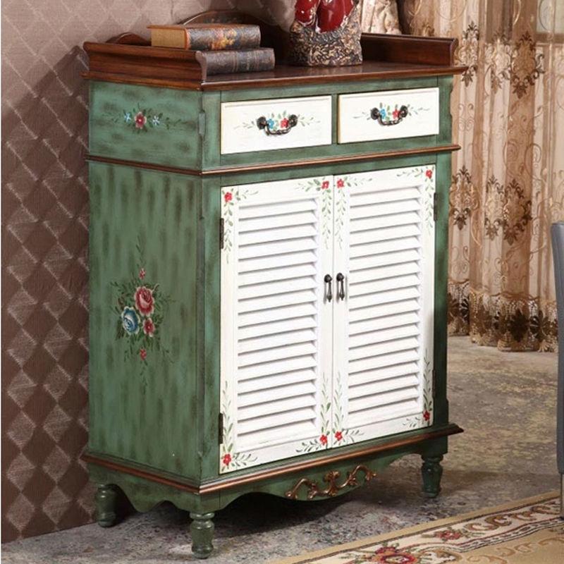 retro hand painted shoe rack shoe cabinet antique wooden furniture living room furniture