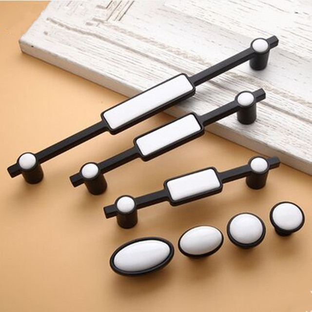 256mm moderno blanco simple negro cocina armario puerta maneja 160mm ...
