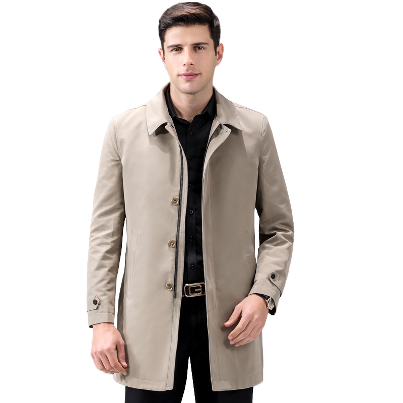 Solid color long trench coat men turn down collar single breasted outerwear plus size new arrival 2019 autumn winter
