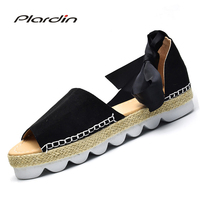 Plardin 2018 Blasting Straw Fish Mouth With Thick Bottom Ankle Strap Plus Size Sandals Foreign Trade