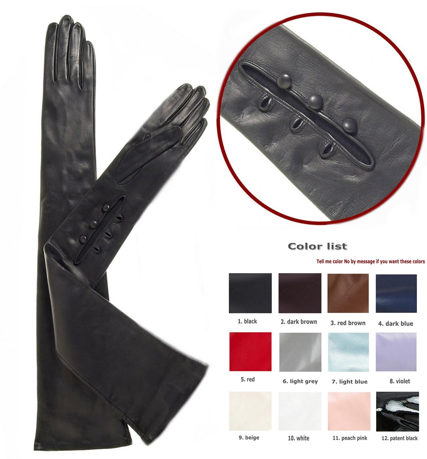 custom made 40cm to 80cm long wrist buttons style 1 real sheep leather evening opera gloves