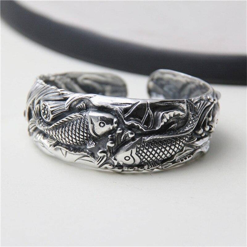 JINSE Antique Thai Silver Bangles 100 S990 Sterling Silver Carp Fish Carved Bracelet Bangle For Men