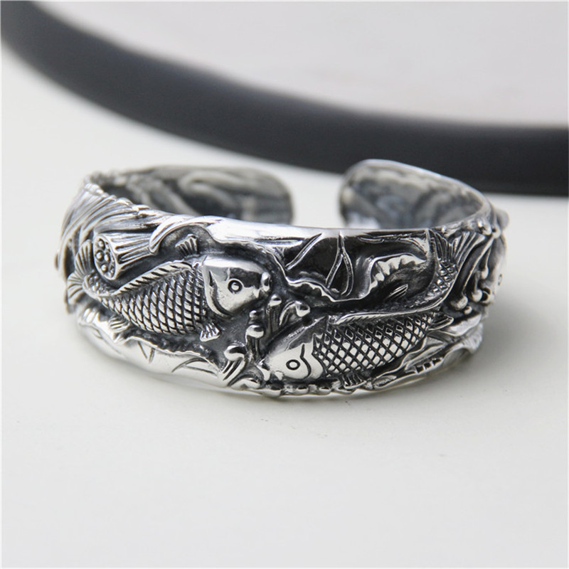 JINSE Antique Thai Silver Bangles 100% S990 Sterling Silver Carp Fish Carved Bracelet Bangle For Men Women Jewelry 25mm 45G TYC0-in Bangles from Jewelry & Accessories    1