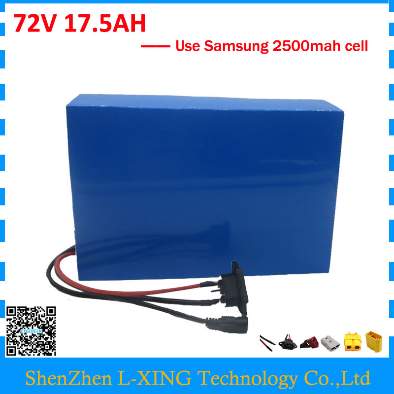 Free customs fee 72V 17.5AH battery 3000W 72V 17AH lithium battery use Samsung 2500mah cell 50A BMS 2A Charger Powerful free customs taxes super power 1000w 48v li ion battery pack with 30a bms 48v 15ah lithium battery pack for panasonic cell