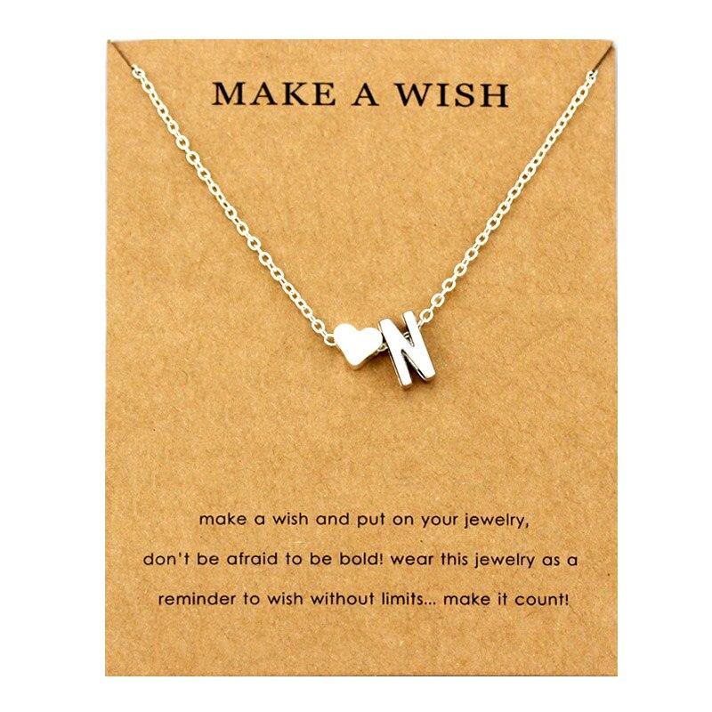 Сердце начальные Подвески ожерелье s персонализированное ожерелье с буквами Имя ювелирные изделия для женщин мужчин аксессуары подруги любовника пара подарок - Окраска металла: NE1668
