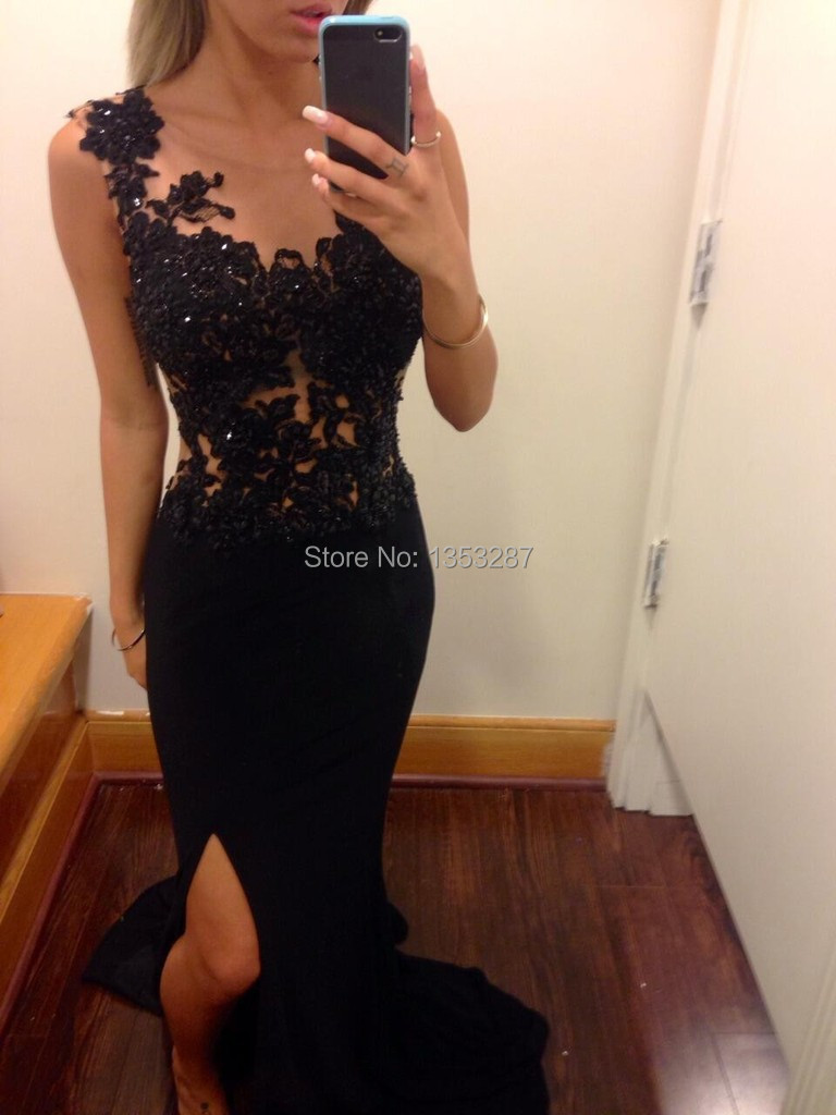 Beautiful Black Lace Prom Dresses Real Photo One Shoulder Side Slit  Long Party Gown Free Shipping Vestidos De Gala