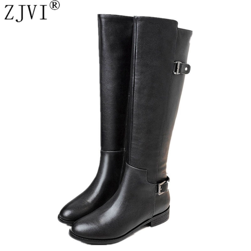 ZJVI women's thigh high boots Ladies fashion buckle winter autumn knee high boots woman genuine leather women low heel shoes autumn and winter new ladies genuine