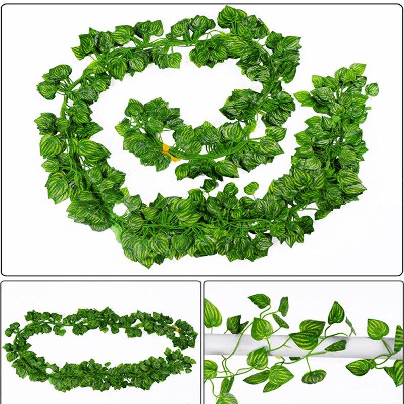 12 unids Artificial Hoja de Hiedra Garland Planta Vine Fake Follaje Flores 210 c