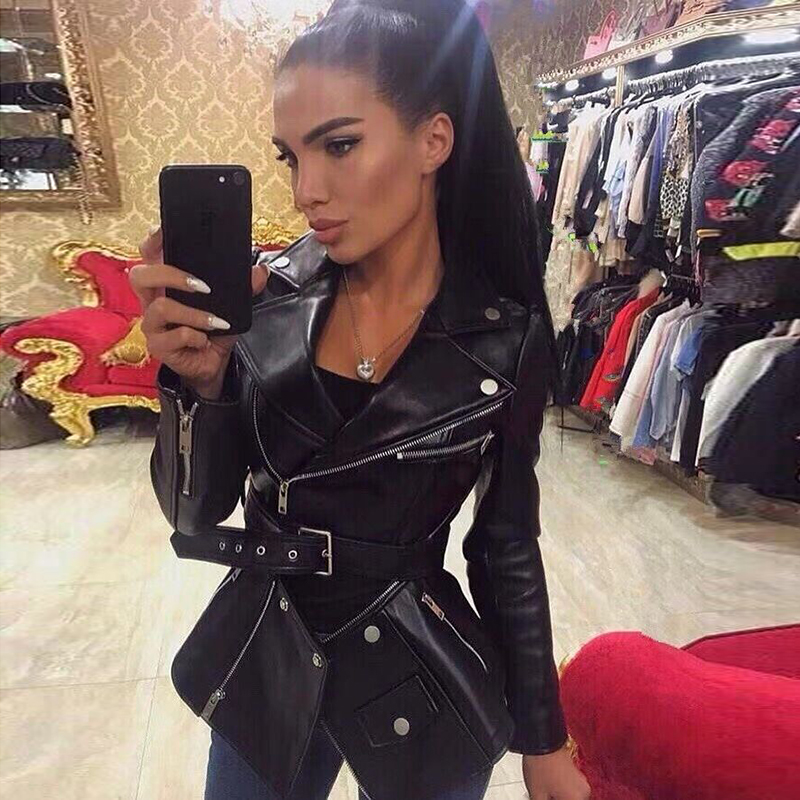 TOP QUALITY 2020 Stylish Jacket For Women Ladies Synthetic Leather Zippers Removable Synthetic Leather Jacket Coat