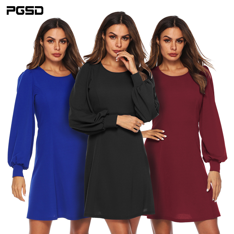 PGSD New Autumn Winter Pure color Women Clothes Loose Lantern Sleeve O neck Fashion Simple A shaped Slim Short Dress female XXL in Dresses from Women 39 s Clothing