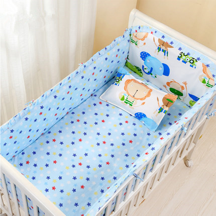 Promotion! 6PCS New Arrived Cartoon Baby bedding sets crib set Baby Product 100% cotton (bumper+sheet+pillow cover) promotion 6pcs 100
