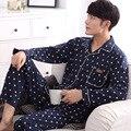 2016 outono e pijamas casa camisola de manga longa de malha de algodão sleepwear pijama dos homens