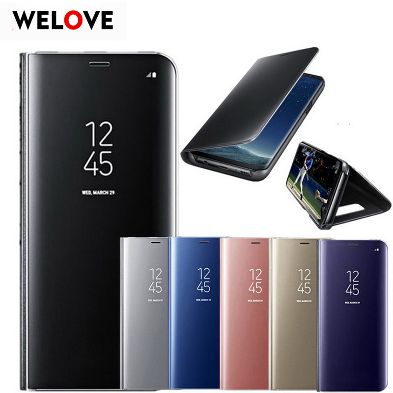 For <font><b>Samsung</b></font> Galaxy S9 S8 Plus <font><b>S6</b></font> S7 Edge Note 8 Smart Clear Mirror View <font><b>Case</b></font> For <font><b>Samsung</b></font> A3 A5 A7 J3 J5 J7 2017 <font><b>Flip</b></font> Stand Cover image
