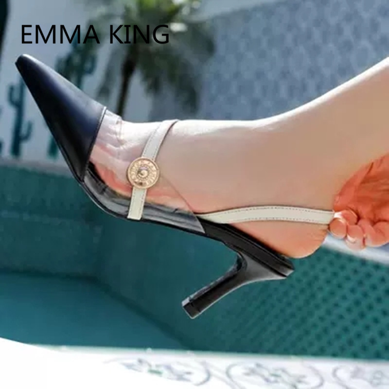 Brown Vintage Leather Women's Pumps Pointed Toe Slip On Ladies PVC Transparent Slingbacks Shoes Woman Sexy Thin High Heels Pump - 5