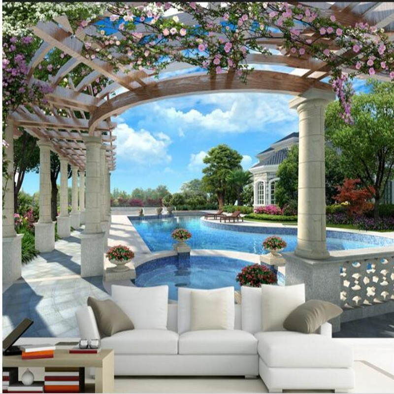 Купить с кэшбэком wellyu  Custom large murals high - end luxury villas 3D swimming pool background wall  wall paper wallpaper for walls 3 d