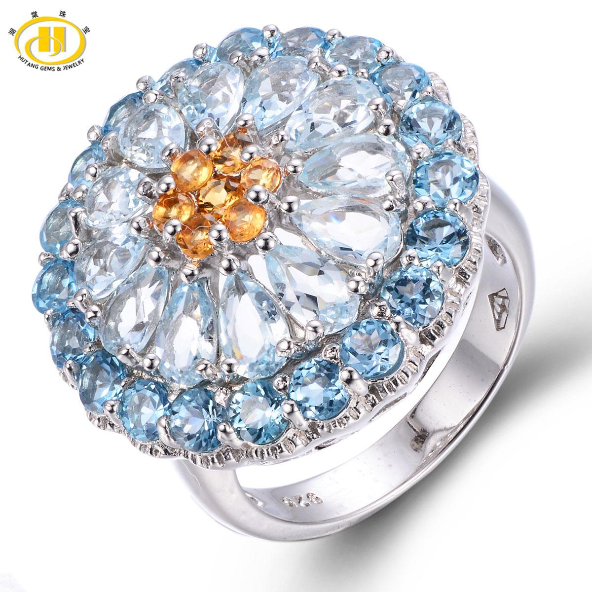 Hutang 5.54ct Genuine Aquamarine & Blue Topaz Solid 925 Sterling Silver Cluster Ring Gemstone Luxury Fine Jewelry Wedding Rings