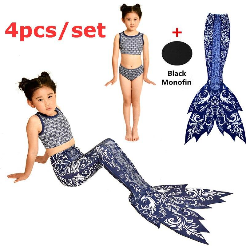 4 pièces/ensemble filles queue de sirène avec Monofin noir enfants Halloween natation Cosplay Costumes maillots de bain plage fantaisie queue