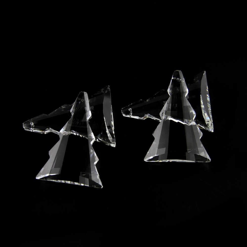 10 Pcs 50-76 Mm Jelas Bentuk Pohon Lampu Gantung Kristal Bagian Lampu Gantung Liontin Tirai Manik-manik Kristal Aksesoris