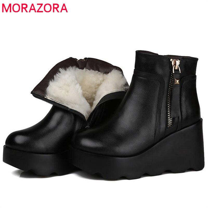 Cuñas Cuero Mujer Genuino Tobillo Lana Zapatos Para Negro Natural Manera Nuevo Las Mujeres La De 2018 Morazora Cómodo Mantener qwTPvwZ